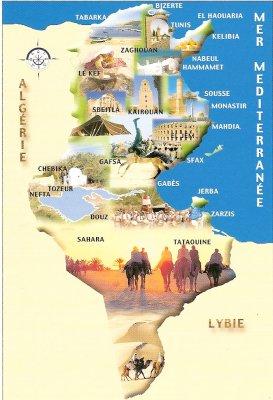 Carte géographique de la Tunisie   Carlo