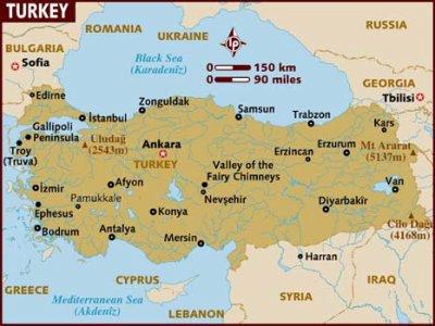 La carte géographique de la Turquie   Carlo