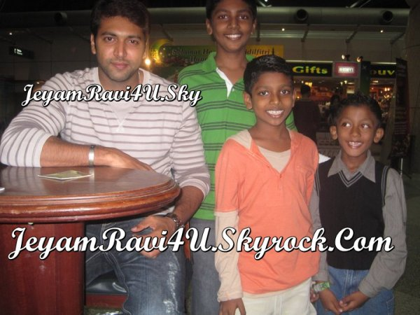 Jeyam Ravi with Kutty fans