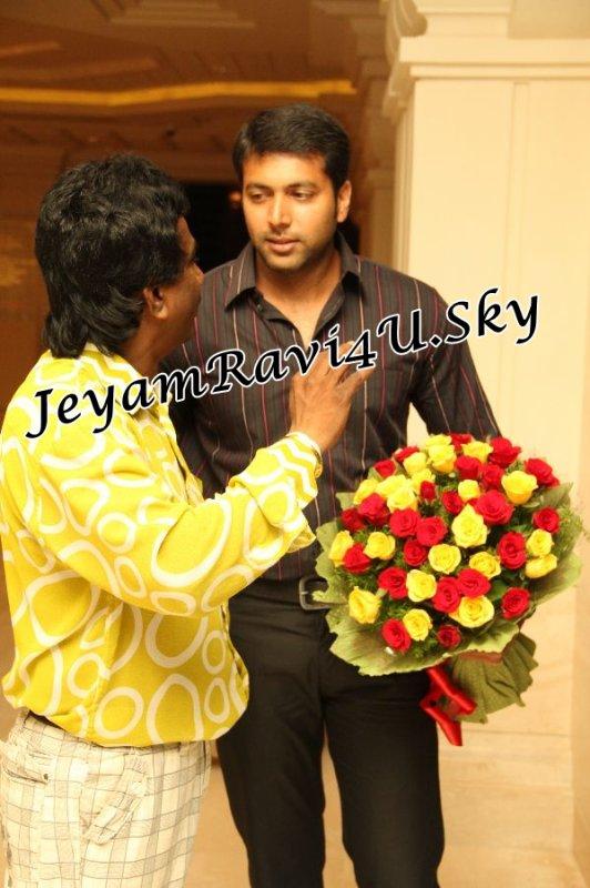 Jeyam Ravi and wife @ Sneha wedding Reception