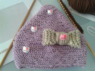 Bonnet avec gros noeud bébé fille (0-3 mois)