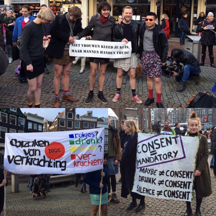 Pays-Bas: des hommes en mini-jupe manifestent contre le harcèlement sexuel dans la capitale