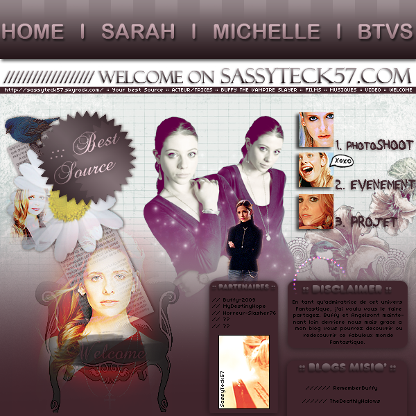 llllSOMMAIREllllMUSIQUES DE BUFFY ♫llllNEWSLETTER lll MEDIATHEQUEllll FACEBOOK   ( L'Actualité des deux plus belles actrices de BTVS :« Sarah Michelle Gellar & Michelle Trachtenberg » ) « Le BLOG le plus complet About la série Buffy Contre Les Vampires !!!  !!! ( Universe-buffy ) »