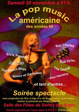 SOIREE-SPECTACLE: L'ÂGE D'OR DE LA POP MUSIC AMERICAINE