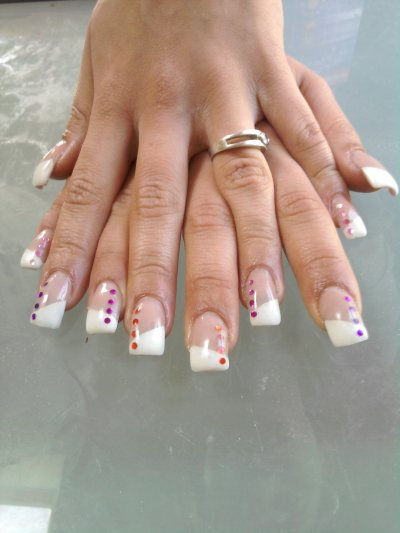 ongle gel pose french blanche biai deco strass blog