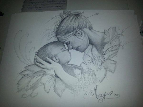 Bébé elfes avec sa maman