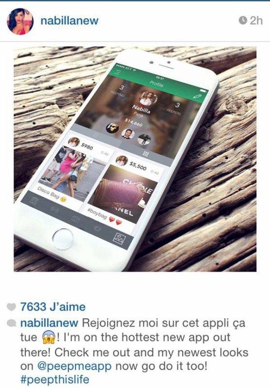 Photo postée par Nabilla sur instagram.