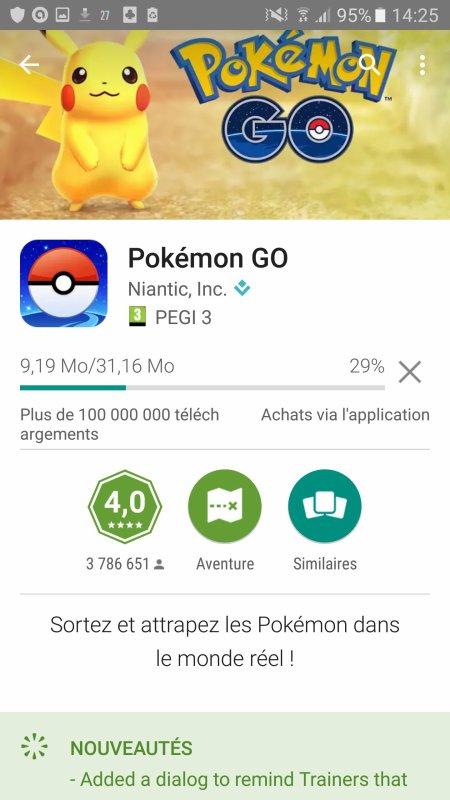 Mise à jour hier de Pokémon Go