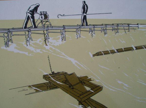 Hastière - Musée en plein air - Centre d'interprétation sur l'ancien barrage. Extrait d'un des huit pupitres didactiques situés au pied d'authentiques éléments du barrage.