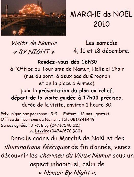 VISITEZ « Namur By Night ». avec des guides agréés pendand la période du MARCHE de NOEL
