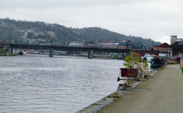 Namur - La traversée de la ville et ses travaux pour l'épuration des eaux usées - Le double pont-rail du Luxembourg.