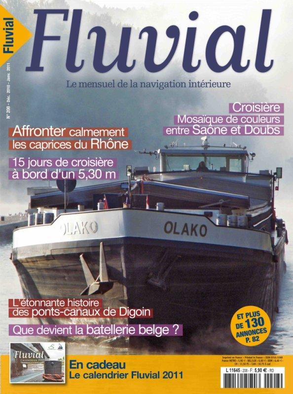 Couverture du FLUVIAL n°208  Décembre 2010-Janvier 2011 - Que devient la batellerie belge? (Marie Flamme)