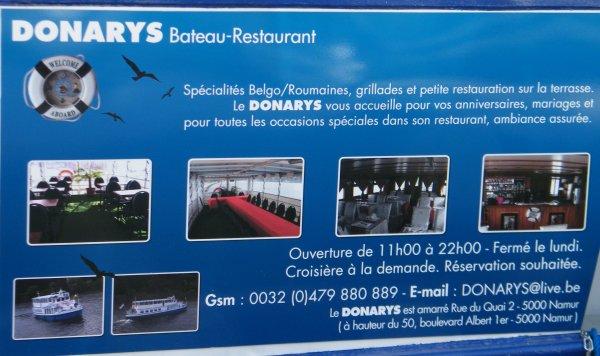 DONARYS (NL) Bateau-restaurant-croisière spécialités belgo-roumaines à NAMUR