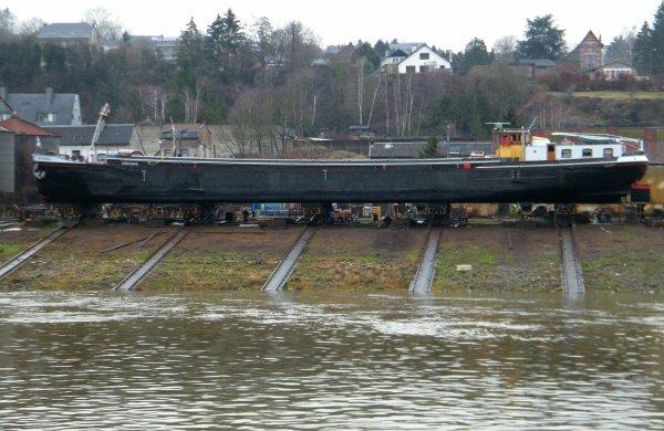 """Le Tomi Ungerer sur les eaux namuroises avant son prochain départ.... Rassemblement de bateaux à passagers au chantier naval """"Meuse & Sambre"""" à Beez."""