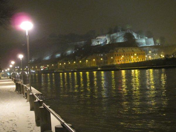 Namur  - La citadelle depuis le Quai de Meuse jambois.