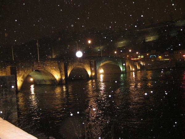 Namur - Le pont de Jambes sous un décor hivernal...