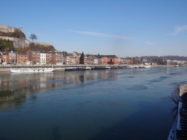 """NAMUR - Vue sur la sortie de la Haute Meuse - La 5è. de """"Images'in la Meuse"""" se pose à Dinant  - La situation des glaces du 10 février 2012"""