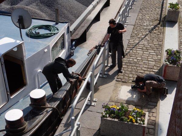 Le SAPHIR de Luc De Roeck devant la caméra d'un stagiaire de l'asbl RTA. - TORA-ZO montant à l'enfoncement de 2,50m.