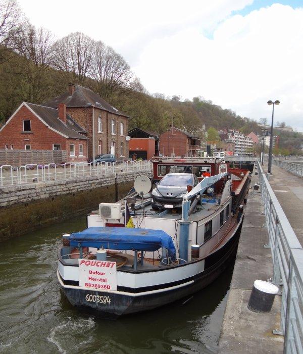 On retrouve enfin un trafic fluvial normal et varié sur la Haute Meuse... Parmi les 18 bateaux de la journée; SABRINA (B), NEOPHYTE (B), MEUSE ARDENNES (B), JOLANDA (NL), RANISHEILLA (B), POUCHET (B), HEBRINA III (GB), KALUGY (B), GILIANE (B), STELVIO (B), ...