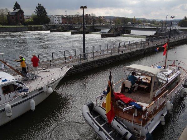 """Ouverture des ports de plaisance namurois... Fin du remontage des pontons & catways à """"Henri-Hallet"""" -  LIZA ANA (GB) - EOLE (B), KAIROS (B)."""