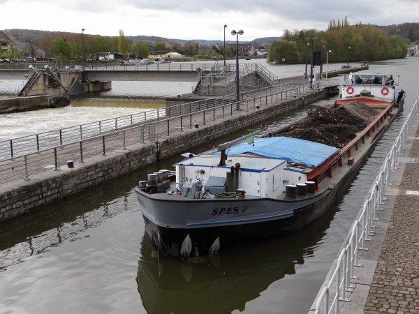 Hausses couchées sur la Haute Meuse - NAXOS (B), SPES II (B), MEUSE-ARDENNES (B), POSEIDON (CH), NEELTJEJ (NL),...