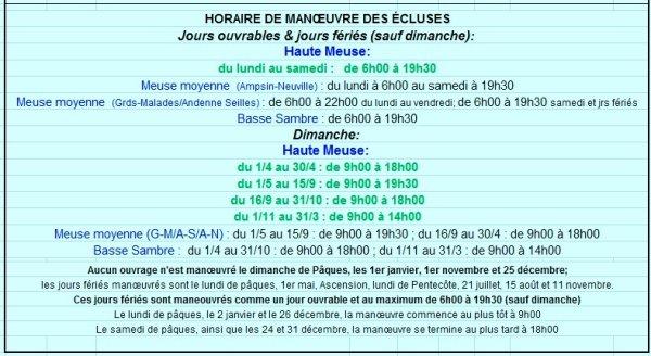 7-18 l'hiver sur la Haute-Meuse, c'est fini > Elargissement à 6-19:30 toute l'année, du lundi au samedi. Actuellement, les dimanches sont toujours fermés aux bateaux de commerce ! - LAMBADA(B) au repos dominical dans le garage aval de La Plante.-Visualisation de la régulation du barrage de La Plante. - LAGO (B)