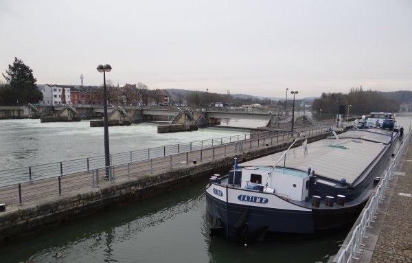 """Retour de notre plus gros tonnage GT.2066 (1620t. pour 2,50 m. d'enfoncement), le """"SABRINA"""" à destination de Lustin."""