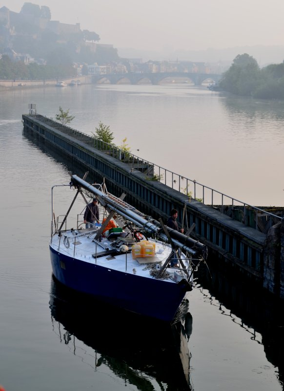 Un trio de marchands pour débuter cette fin de semaine sur la Haute-Meuse ;  DC MOSA 2, CURSOR, MARGA, suivi par PAROLA, parmi les 18 bateaux de la pause matinale
