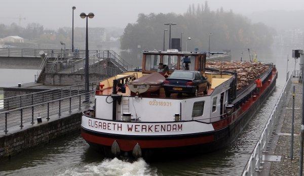 ELISABETH construit à Namur (Sambre & Meuse) en 1964, de retour en Meuse namuroise avec un chargement de 589 tonnes de bois de bouleaux à destination de Givet...