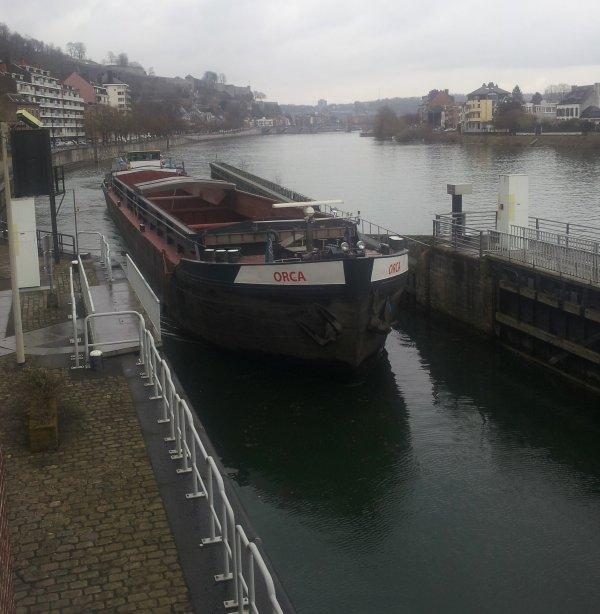 """Le Mouche remonte vers son port d'attache dinantais après un passage au chantier naval """"Meuse & Sambre"""" de Beez"""