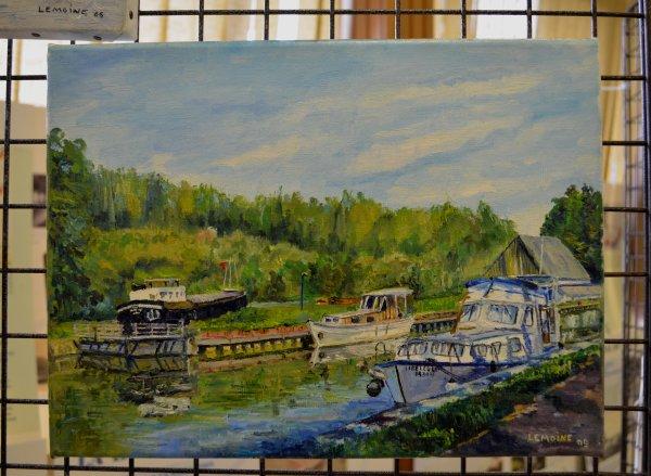 """Alors que le BEL AMI d'Yvan en revenait pour rejoindre son port d'attache sur La Haute Meuse,  je profite de ma journée de récupération pour découvrir Marchienne-au-Pont et son expo """"Voies d'Eau du Hainaut"""""""