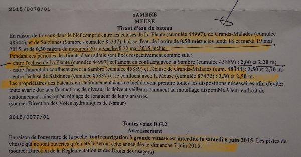 L'avis à la batellerie n°0078 du 5 mai qui annoncait la baisse d'eau et les réductions du tirant d'eau admis pour la traversée namuroise n'a pas été consulté ou compris par tous!  :(