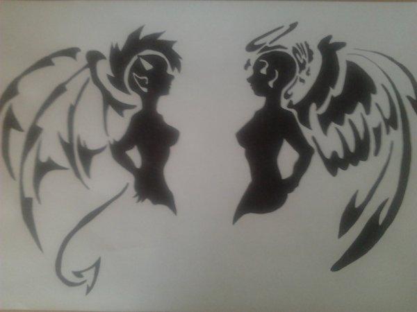 Tribal ange et d mon la bo te dessin - Dessin ange demon ...