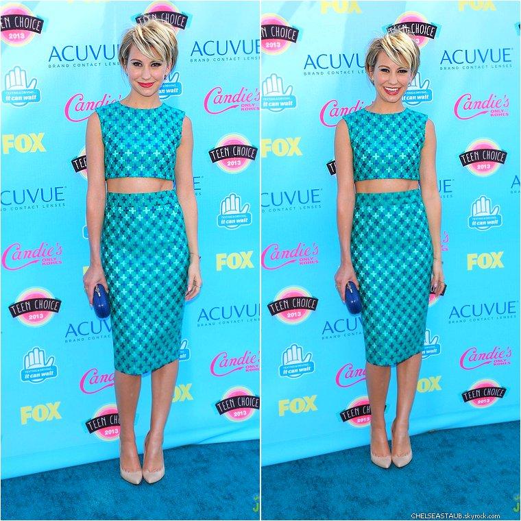11/08 - CHELSEA KANE ÉTAIT AUX « TEEN CHOICE AWARDS 2013 », A LOS ANGELES ! * Que pensez-vous de sa tenue ? Personnellement, je n'aime particulièrement les motifs mais cette couleur lui va à ravir !