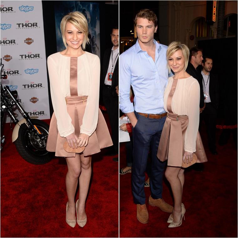 * Le 30 octobre 2013, Chelsea Kane était à l'avant-première du film The Dark World à Los Angeles, en compagnie de Derek Theler. Je trouve sa tenue mignonne ça lui va plutôt bien !