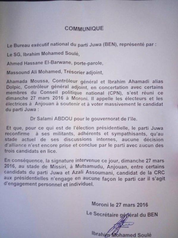 Communiqué du parti JUWA de l'ex-président Ahmed Abdallah SAMBI