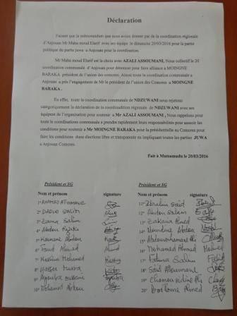 Juwa se fractionne de temps à l'autre : 20 coordinateurs s'alignent chez Mouigni Baraka