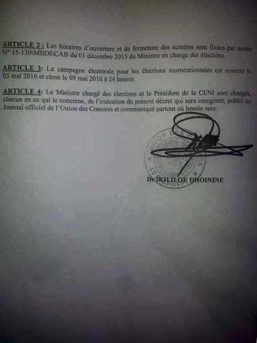 La fin du scrutin présidentiel et du second tour de l'élection du gouverneur de l'île autonome de Ndzuani est fixée pour ce 11 mai 2016