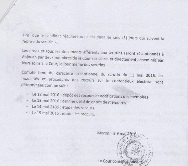 Communiqué de Presse de la Cour Constitutionnelle de l'Union des Comores