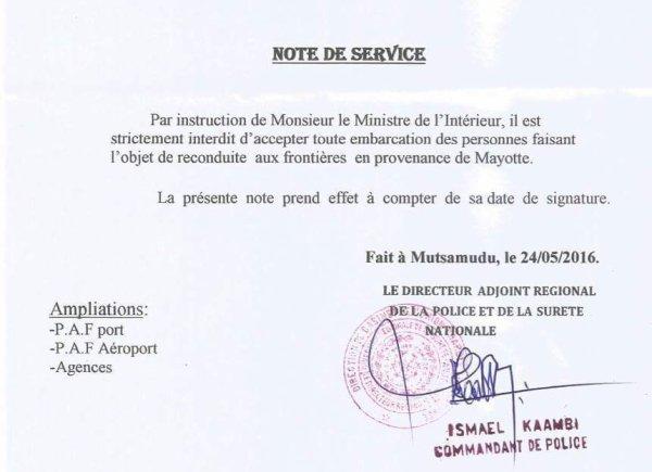 Note de service : Situation des Comoriens à Moyotte !