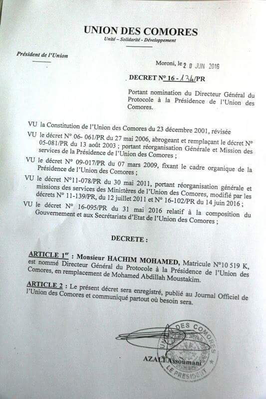 Hachim Mohamed  nommé Directeur Général du protocole du Chef de l'Etat  par son excellence Azali Assoumani