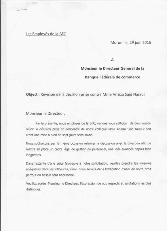 Esclavage à la Banque Fédérale des Comores - BFC ?