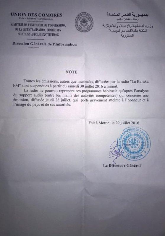 Note du Ministère de l'Intérieur , de l'Information , de la décentralisation , chargé des relations avec les institutions