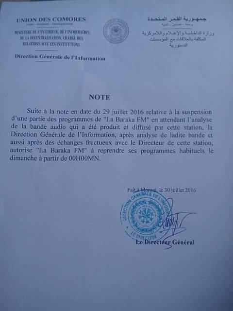 Suite : Note du Ministère de l'Intérieur , de l'Information , de la décentralisation , chargé des relations avec les institutions