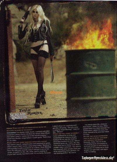 Je vous avez montrer les photos du shoot de Taylor pour Revolver, mais les photo n'était pas de très bonne qualiter.  Les Photos sont paru en très bonne qualiter. Donc vous pouvez les comtempler sans vous faire mal au Yeux :). PS : J'ai traduis le texte Scream Queen.