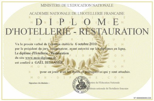 Le dipl me blog de hotellerie agent for Diplome restauration collective