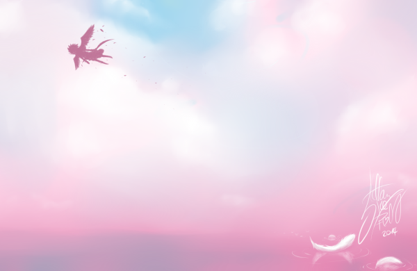 DRAW: Angel feathers in the pinkish sky.