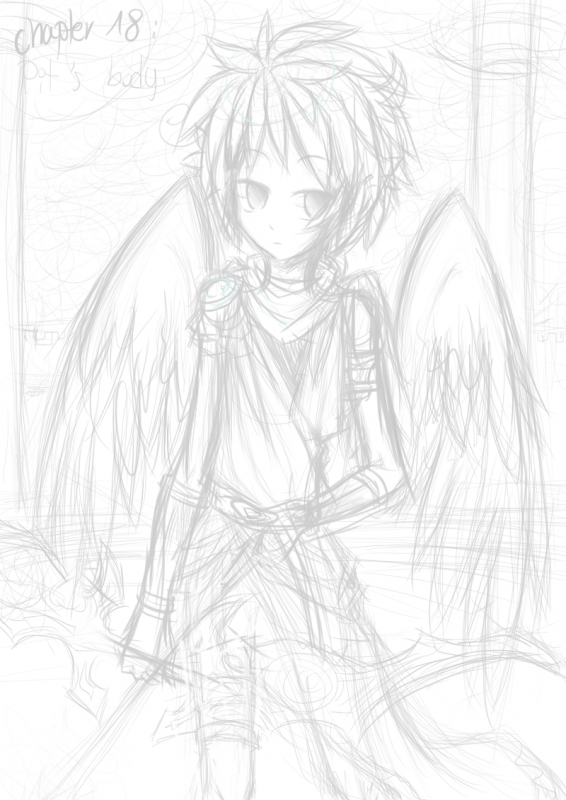 SKETCH: Pit's body. ('' The Ring Of Chaos '')