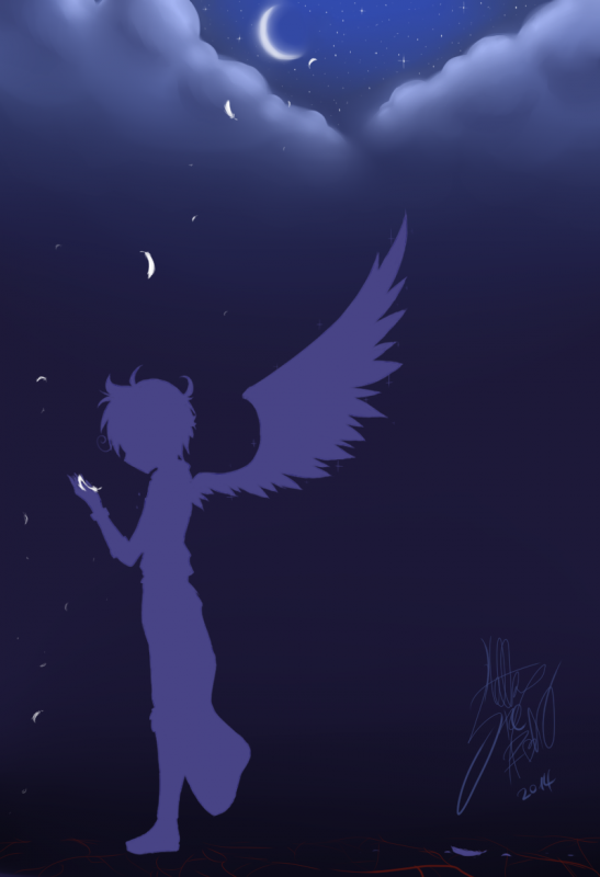 DRAW: Angel feathers in the night.