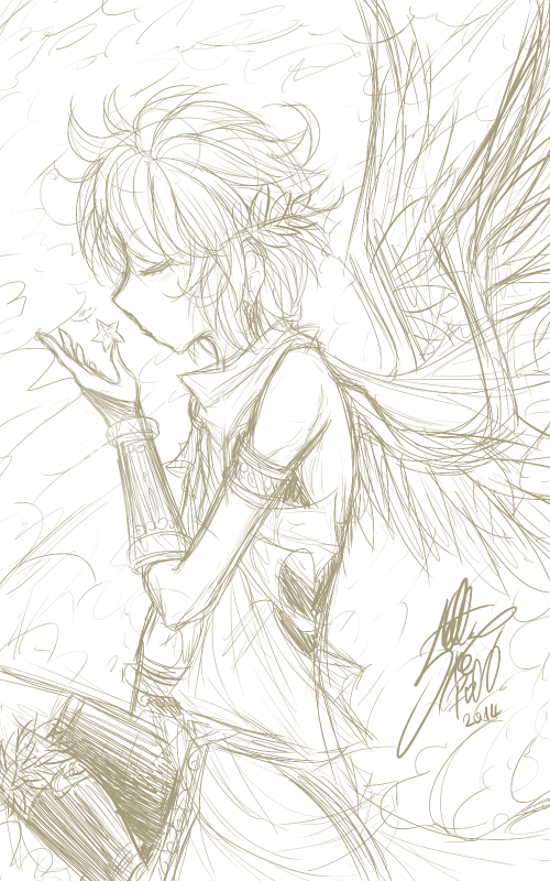 SKETCH: The angel and the star.